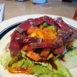 肉が旨いカフェ NICK STOCK - 熟成牛の生ハムアボカドユッケ 980円