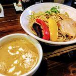 やま昇 - 期間限定 彩り夏野菜のタイ風カレーつけ麺 890円 + 大盛り(計300g)無料