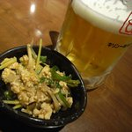 鈴や - お通し&ビール