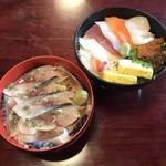 尾州鮨 - ランチのちらしと鯖丼です。