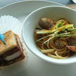 ビューアンドダイニングザスカイ - THE Sky @Hotel New Otani 魚介とカラスミの和風スパゲッティと名物のロースカツサンド