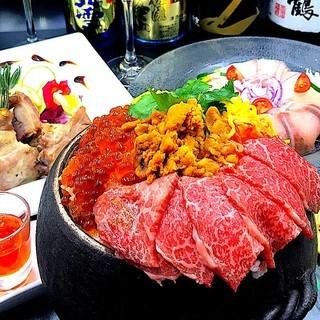 雲丹×肉至福宴会!雲丹と新潟和牛の土鍋飯2H飲放付4500円