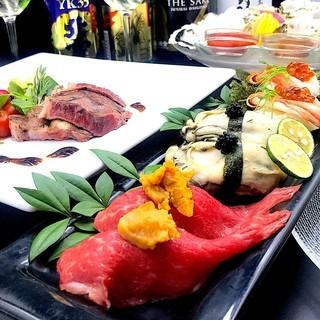 【ご接待専用プレミアム】牡蠣・新潟和牛ステーキと握り寿司