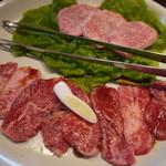 焼肉 万蔵 - 特盛定食(カルビ1+上タン塩0.5)