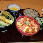 いっちょう - オホーツク丼と天丼とざるそば1190円外税