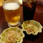 炭乃蔵 - 料理写真:晩酌セットのビール、コーラ