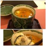 鮨 そえ島 - ◆岩牡蠣(秋田)の茶碗蒸し・・岩牡蠣はカットしてありますが、大きいですね。 旨みを感じますし、卵の黄身とぽん酢で作った餡が合います。