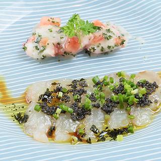 海鮮を使ったオードブル。三大珍味など、贅沢な食材を使用