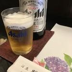 旬楽幸味 - 紫陽花の敷紙とビール(2018.6.25)