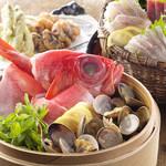 四十八漁場 - 地金目鯛とあさりの蒸篭蒸しコース