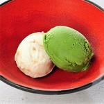 塩キャラメルと抹茶のアイス