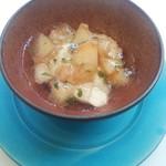 88207677 - 桃と紅茶のババロア ミント風味の白ワインジュレ