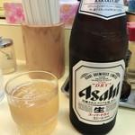手もみラーメン 十八番 - 瓶ビール アサヒ 550円