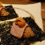 日本酒 まぐろの一徹 - 本マグロと生雲丹の手巻き