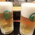 寿し安 - ビールで乾杯