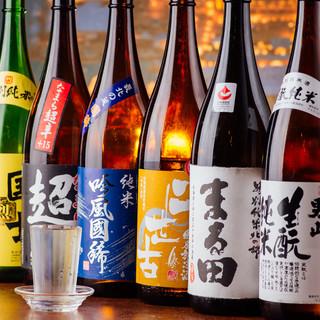 日本酒も30種類取り揃えております。飲み放題も11種飲めます