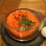 スペイン料理サルデスカ - ピキージョ ピーマンのムース 雲丹と芽ネギ