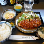 鳥よし - チキン竜田トマトソース定食¥850-