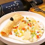 ビストロ カリテプリ - 三浦野菜とスモークサーモンのクレープ仕立て