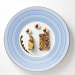 銀座 レカン - 料理写真:黒鮑のスチームと夏野菜のコンディモン 黒オリーブのジュレ アリコタルべのピュレ トリュフ香る肝ソース