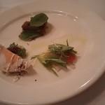 銀座アッラマーノ - 前菜3点盛合せ マグロホホ肉の煮込み、地鶏のテリーヌ、鯛のカルパッチョ