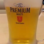 ステーキガスト - ドリンク写真:ハッピーアワーから生ビールはプレミアムモルツ通常529円が200円