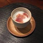 88301534 - 山椒泡と国産生ハム 枝豆の茶碗蒸し(セルサルサーレ) 2018.6