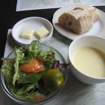 カフェドゥラプレス - サラダ・スープ・パン