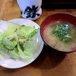 寿司鉄 - 寿司鉄 @氷川台 ランチに付くサラダととろろ昆布の味噌汁
