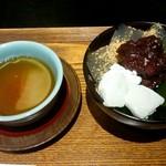 寧楽菓子司 中西与三郎 - ほうじ茶と六坊セット