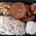 旬味彩菜 - 料理写真:お弁当1例(たこめし・鶏南蛮・ホイコーロー・ポテトサラダ)