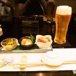 寿し処 今 - 付き出し & 生ビール