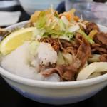 本格さぬきうどん 穂乃香 - 肉ぶっかけにサービスの薬味盛る〜