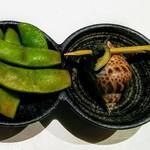 鮨 いし黒 - 枝豆、バイ貝