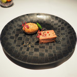 ゴーシェ - ランチコース 4640円 のフォアグラと鶏レバーのパテ 無花果のムース添え
