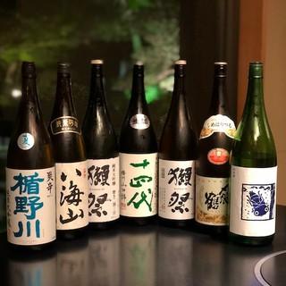 料理に花を添える日本酒も季節に合わせてラインアップ