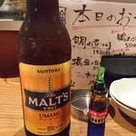 目黒川魚金 - モルツ大瓶¥670