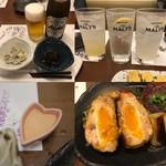 酒処 酔いの月 - オープン記念サービスのビール/お通し¥400/サワー類/コロッケのソース/爆弾焼き