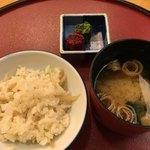 和食 入舟 - 新生姜の御飯、お味噌汁、香の物