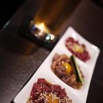 馬肉×ワイン 気まぐれバル 恵比寿 Whim - 生ビールと特撰ユッケ3種盛り合わせ