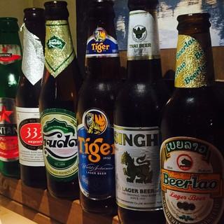 豊富なアジアビールにベトナム&タイ焼酎、ワインも充実!