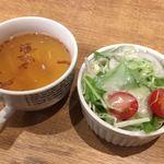 ボトムステーキ - スープサラダ
