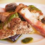 パリ4区 - 三元豚ロース肉・砂肝のコンフィ 角切りベーコンのソテー添え