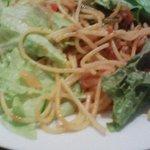 8848931 - 魚のラグーのパスタ(ケッパー入り)にサラダをかけたものです。(私流)