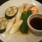 恵比寿一丁目ホルモン - 季節の野菜焼き((518円))  ナス・ネギ・ピーマン・エリンギ・ニンジン