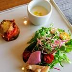 イタリアンキッチン いしかわ - 【前菜】サラダ、玉葱の冷製スープなど