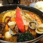 スープカレーガラク - 旨みたっぷり シーフード 海の恵み 1680円 ライスLサイズ 110円 チーズトッピング 170円