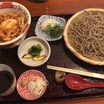蕎麦うえ田 - 料理写真:ざると桜海老と半熟卵の天丼 1,500円(十割に変更 +100円)