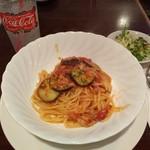 88535142 - (ランチセット)なすとツナのトマトソーススパゲッティ