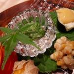 与志福 - 蛸おくら 生姜酢/ピュアホワイトのかき揚げ/泉州水なす
